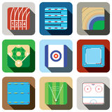 Sport game field icon set Royalty Free Stock Photo