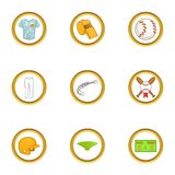 Sport game icons set, cartoon style. Sport game icons set. Cartoon set of 9 sport game vector icons for web isolated on white background Royalty Free Stock Photography