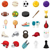 Sport game icons set, cartoon style Royalty Free Stock Photo
