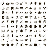 100 sport game icons set, simple style Stock Photography