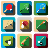 Sport game long shadow icon set Royalty Free Stock Image