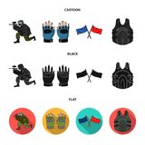 Sport, game, paintball, competition .Paintball set collection icons in cartoon,black,flat style vector symbol stock. Illustration Royalty Free Stock Photo