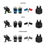Sport, game, paintball, competition .Paintball set collection icons in cartoon,black,monochrome style vector symbol. Stock illustration Royalty Free Stock Photography