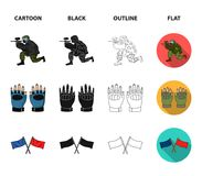 Sport, game, paintball, competition .Paintball set collection icons in cartoon,black,outline,flat style vector symbol. Stock illustration Stock Image