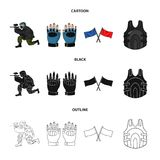 Sport, game, paintball, competition .Paintball set collection icons in cartoon,black,outline style vector symbol stock. Illustration Royalty Free Stock Photo