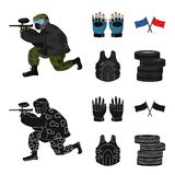Sport, game, paintball, competition .Paintball set collection icons in cartoon,black style vector symbol stock. Illustration Stock Images