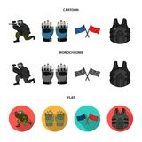Sport, game, paintball, competition .Paintball set collection icons in cartoon,flat,monochrome style vector symbol stock. Illustration Stock Photos