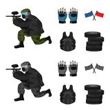 Sport, game, paintball, competition .Paintball set collection icons in cartoon,monochrome style vector symbol stock. Illustration Stock Photos