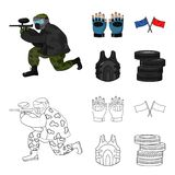 Sport, game, paintball, competition .Paintball set collection icons in cartoon,outline style vector symbol stock. Illustration Royalty Free Stock Images