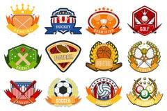 Sport game team logo play tournament label champion emblem league competition symbol vector illustration. Athletic university championship club stock illustration