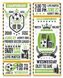 Sport game ticket for soccer match. Sport game ticket for soccer championship match broadcast. Soccer ball, beer glass and winner trophy cup on shield and beer Stock Images