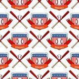Sport game vector baseball team play tournament label champion emblem league competition seamless pattern background. Sport game vector baseball team play stock illustration