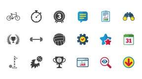 Sport games, fitness icon. Bike, basketball. Stock Photo