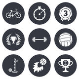 Sport games, fitness icon. Bike, basketball Royalty Free Stock Photo