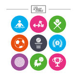 Sport games, fitness icon. Football, basketball. Royalty Free Stock Images