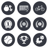 Sport games, fitness icon. Football, basketball Royalty Free Stock Photo