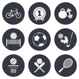 Sport games, fitness icon. Football, basketball Stock Images