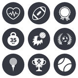 Sport games, fitness icon. Football, golf Royalty Free Stock Images