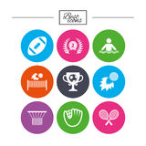 Sport games, fitness icon. Football, golf. Stock Images