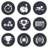 Sport games, fitness icon. Football, tennis Stock Photo