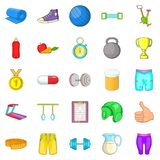 Sport games icons set, cartoon style. Sport games icons set. Cartoon set of 25 sport games vector icons for web isolated on white background Stock Images