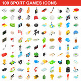 100 sport games icons set, isometric 3d style. 100 sport games icons set in isometric 3d style for any design vector illustration Royalty Free Stock Image