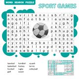 Sport games themed word search puzzle for kids. Answer included.