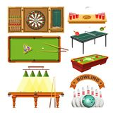 Sport game darts, billiards pool, tennis or bowling vector isolated set. Sport games types of darts, billiards pool or beer ping pong, table tennis and bowling royalty free illustration