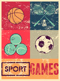 Sport games. Typographic retro grunge poster. Basketball, badminton, football, tennis. Vector illustration. Stock Photo
