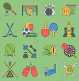 Sport games vector icons flat design ping pong sign. Sport icons football bowling set collection pictogram symbol. Game. Trophy competition hockey, chess Royalty Free Stock Photos