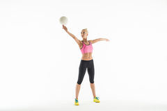 Sport girl with ball Stock Images