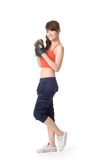 Sport girl with baseball glove Stock Image