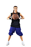 Sport girl with a basketball isolated Royalty Free Stock Photos