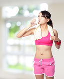 Sport girl drinking water Royalty Free Stock Photo