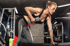 Sport girl is engaged in exercises in the gym Stock Photos