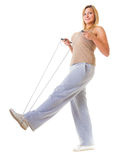 Sport girl fitness woman doing exercise with skip jump rope isolated Stock Images