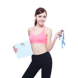 Sport girl hold weight scale Royalty Free Stock Photos