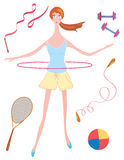 Sport girl with hoop Stock Photo