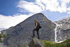 Sport Girl In Norway Mountains Royalty Free Stock Photos