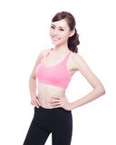 Sport girl isolated. On white background. Running fitness sport woman jogging smiling happy. asian beauty Royalty Free Stock Photo