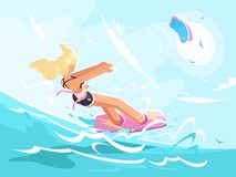 Sport girl on kite surfing Royalty Free Stock Image