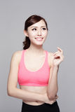 Sport girl look something Royalty Free Stock Images