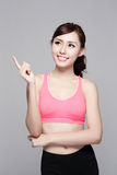 Sport girl look something Royalty Free Stock Image