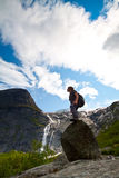Sport girl in Norway maountains Stock Image