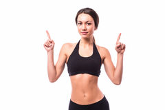 Sport girl pointed up Stock Photography