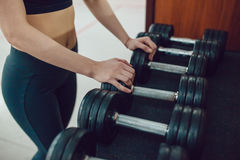 Sport girl is preparing for the exercise with dumbbells Stock Photos