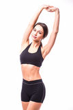 Sport girl with rised hands Royalty Free Stock Image
