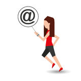 Sport girl running with smart watch mail icon Stock Images