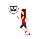 Sport girl running with smart watch picture icon Royalty Free Stock Image