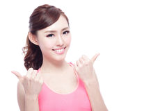 Sport girl show thumb up Stock Photography